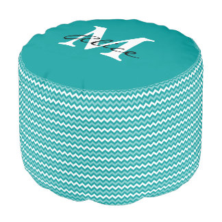Monogram   Abstract Turquoise Chevron Pattern Pouf