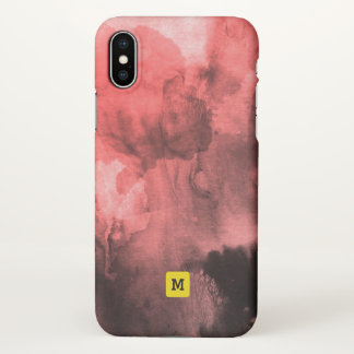 Monogram. Abstract Watercolor with Splatters. iPhone X Case