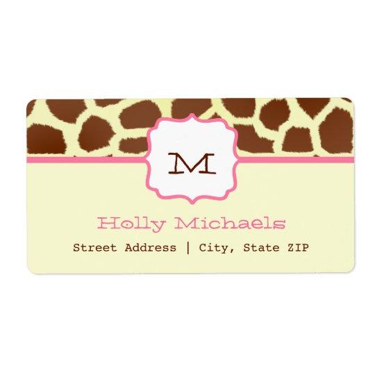 Monogram Address Label - Giraffe Print & Pink