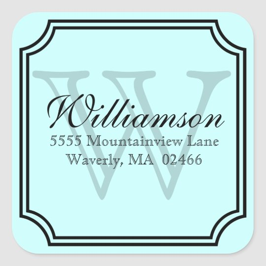 Monogram Address Square Sticker