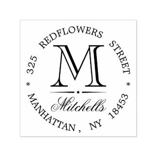 Monogram Address Wedding Stamp