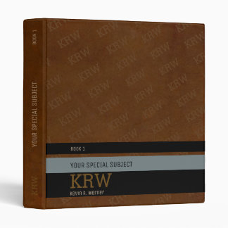 monogram aged-brown texture with stripes & subject vinyl binder