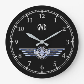 Monogram Air Pilot Silver Wings Compass on a Large Clock