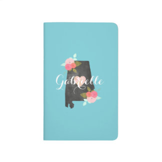 Monogram Alabama State Watercolor Floral & Heart Journals