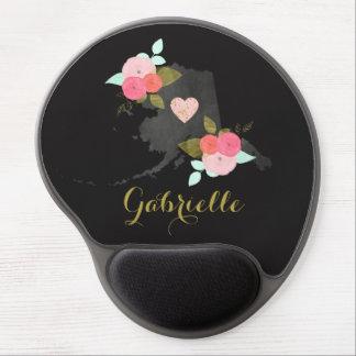 Monogram Alaska Chalkboard State Flowers Heart Gel Mouse Pad
