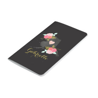 Monogram Alaska State Watercolor Floral & Heart Journals
