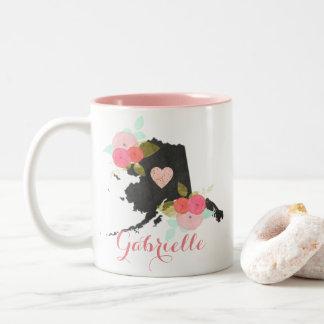 Monogram Alaska State Watercolor Floral & Heart Two-Tone Coffee Mug