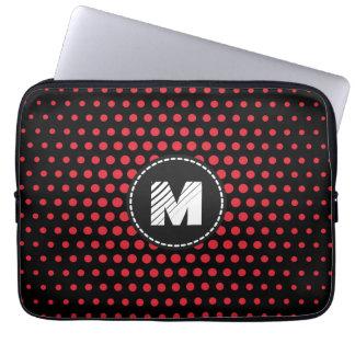 Monogram Alizarin crimson Techno Dots Modern Laptop Sleeve