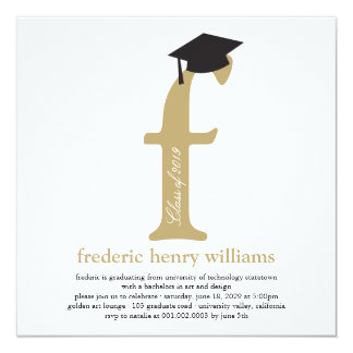 "Monogram Alphabet Graduate Graduation Photo Party 5.25"" Square Invitation Card"