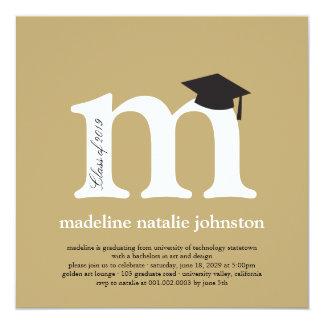 "Monogram Alphabet Graduate Graduation Photo Party 5.25"" Square Invitation Card"
