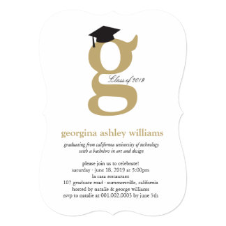 "Monogram Alphabet Graduate Graduation Photo Party 5"" X 7"" Invitation Card"