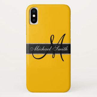 Monogram Amber Color Background iPhone X Case