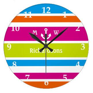 Monogram Anchor Colorful Stripes Coastal Summer Wallclock