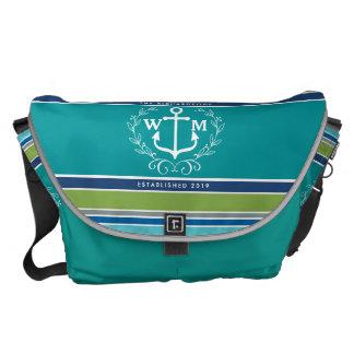 Monogram Anchor Laurel Wreath Stripes Aqua Commuter Bag