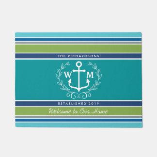 Monogram Anchor Laurel Wreath Stripes Nautical Doormat