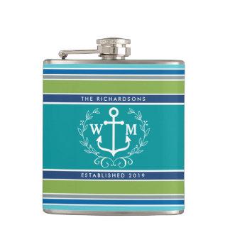 Monogram Anchor Laurel Wreath Stripes Nautical Hip Flask