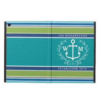 Monogram Anchor Laurel Wreath Stripes Nautical iPad Air Cover