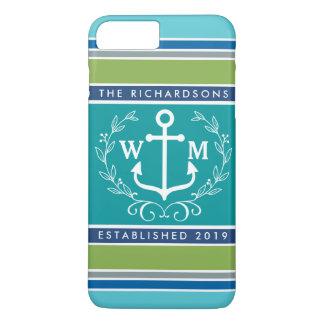 Monogram Anchor Laurel Wreath Stripes Nautical iPhone 8 Plus/7 Plus Case