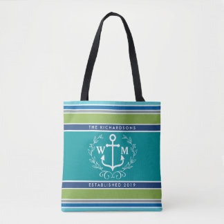 Monogram Anchor Laurel Wreath Stripes Nautical Tote Bag