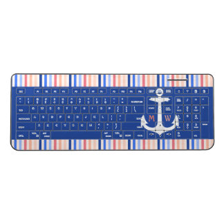 Monogram Anchor Stripes Blue Orange Nautical Fun Wireless Keyboard