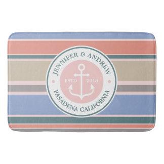 Monogram Anchor Trendy Stripes Pink Nautical Beach Bath Mat