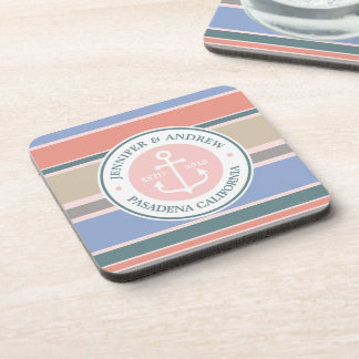Monogram Anchor Trendy Stripes Pink Nautical Beach Coaster