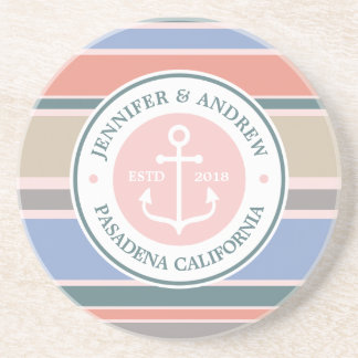 Monogram Anchor Trendy Stripes Pink Nautical Beach Coaster