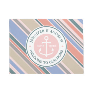 Monogram Anchor Trendy Stripes Pink Nautical Beach Doormat