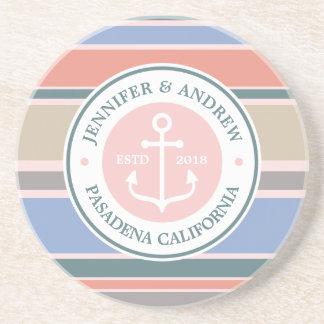 Monogram Anchor Trendy Stripes Pink Nautical Beach Drink Coaster
