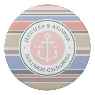 Monogram Anchor Trendy Stripes Pink Nautical Beach Eraser