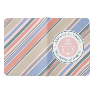 Monogram Anchor Trendy Stripes Pink Nautical Beach Extra Large Moleskine Notebook