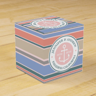 Monogram Anchor Trendy Stripes Pink Nautical Beach Favor Boxes