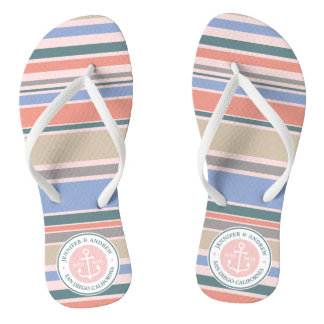Monogram Anchor Trendy Stripes Pink Nautical Beach Flip Flops