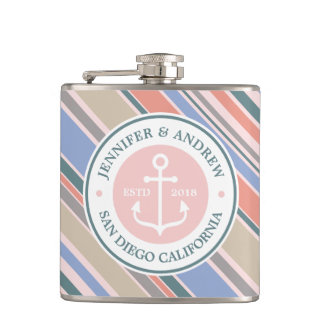 Monogram Anchor Trendy Stripes Pink Nautical Beach Hip Flask
