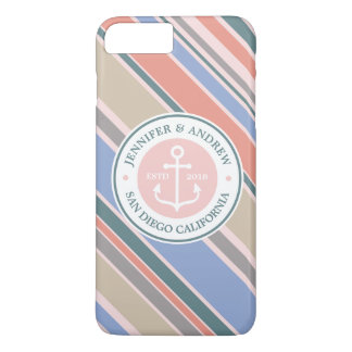 Monogram Anchor Trendy Stripes Pink Nautical Beach iPhone 7 Plus Case