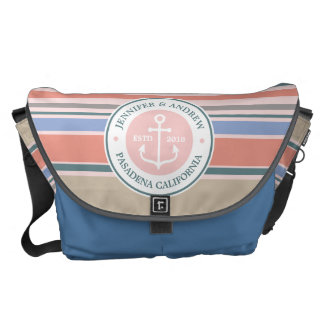 Monogram Anchor Trendy Stripes Pink Nautical Beach Messenger Bag