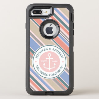 Monogram Anchor Trendy Stripes Pink Nautical Beach OtterBox Defender iPhone 8 Plus/7 Plus Case
