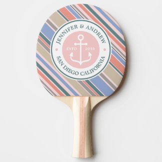 Monogram Anchor Trendy Stripes Pink Nautical Beach Ping Pong Paddle