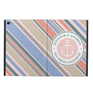 Monogram Anchor Trendy Stripes Pink Nautical Beach Powis iPad Air 2 Case