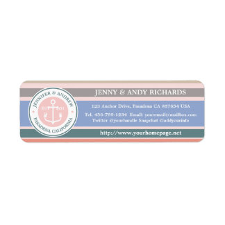 Monogram Anchor Trendy Stripes Pink Nautical Beach Return Address Label