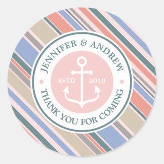 Monogram Anchor Trendy Stripes Pink Nautical Beach Round Sticker