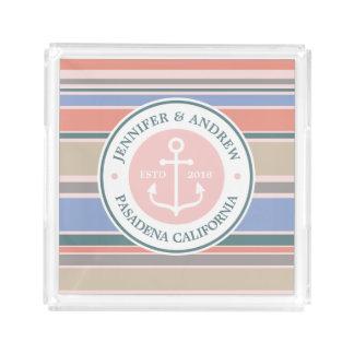 Monogram Anchor Trendy Stripes Pink Nautical Beach Serving Tray