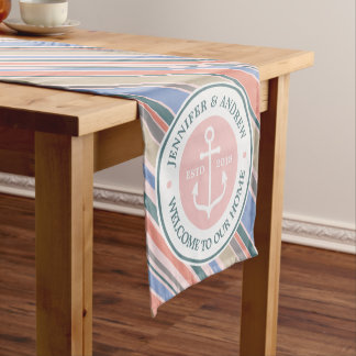 Monogram Anchor Trendy Stripes Pink Nautical Beach Short Table Runner