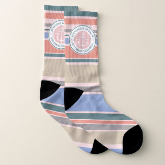 Monogram Anchor Trendy Stripes Pink Nautical Beach Socks