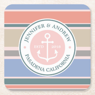 Monogram Anchor Trendy Stripes Pink Nautical Beach Square Paper Coaster