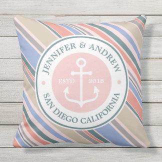 Monogram Anchor Trendy Stripes Pink Nautical Beach Throw Pillow