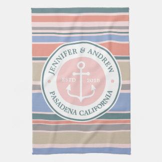 Monogram Anchor Trendy Stripes Pink Nautical Beach Towels