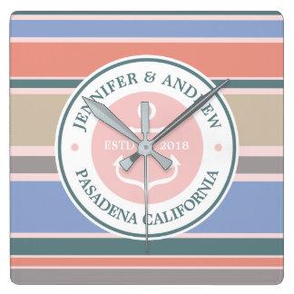 Monogram Anchor Trendy Stripes Pink Nautical Beach Wall Clocks