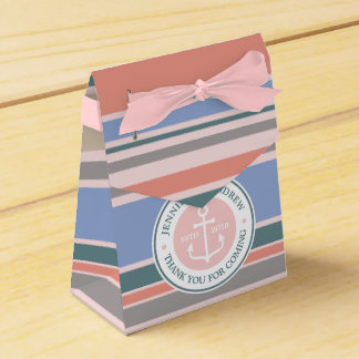 Monogram Anchor Trendy Stripes Pink Nautical Beach Wedding Favor Boxes
