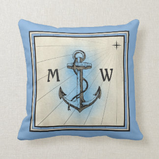 Monogram Anchor Vintage Blue Nautical Compass Throw Pillow